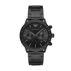 Armani Men's Mario Black Round Stainless Steel Watch - AR11242