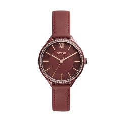 Fossil Women's Suitor Red Round Leather Watch - BQ3406