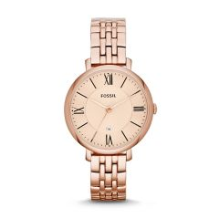 Fossil Women's Jacqueline Rose Gold Round Stainless Steel Watch - ES3435