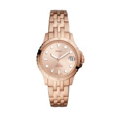 Fossil Women's Fb-01 Rose Gold Round Stainless Steel Watch - ES4748