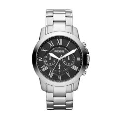 Fossil Men's Grant Silver Round Stainless Steel Watch - FS4736