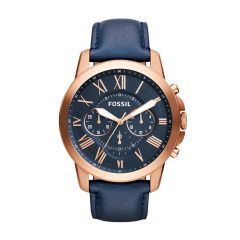 Fossil Men's Grant Rose Gold Round Leather Watch - FS4835IE