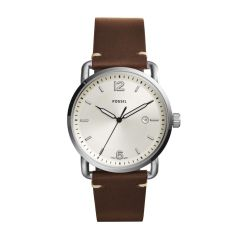 Fossil Men's The Commuter 3H Date Silver Round Leather Watch - FS5275