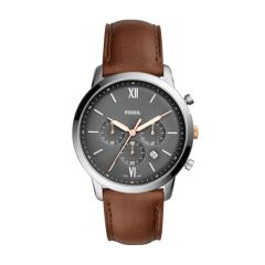 Fossil Men's Neutra Chrono Silver Round Leather Watch - FS5408