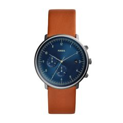 Fossil Men's Chase Timer Smoke Round Leather Watch - FS5486