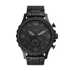 Fossil Men's Nate Black Round Stainless Steel Watch - JR1401