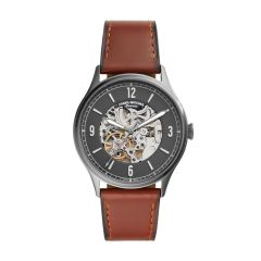 Fossil Men's Forrester Automatic Smoke Round Leather Watch - ME3178
